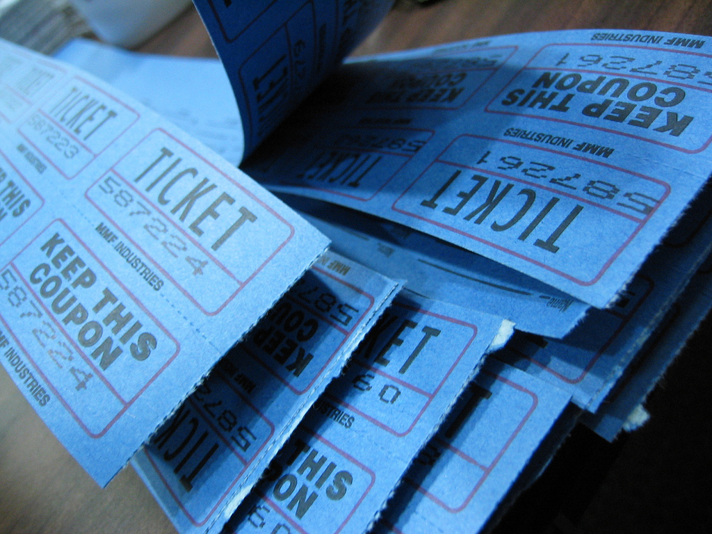 Aragon High School food fair raffle tickets