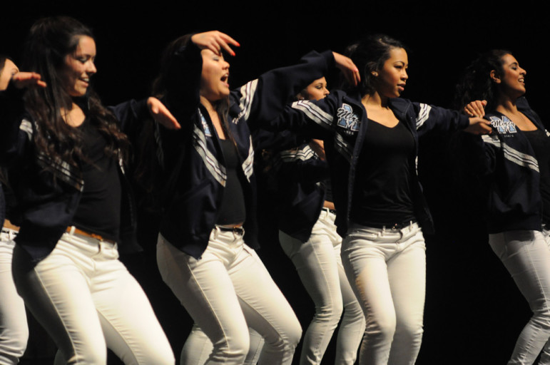 Dancing to various hip-hop songs, Mercy High School's dance team scored second place in the competition. (Alex Furuya)