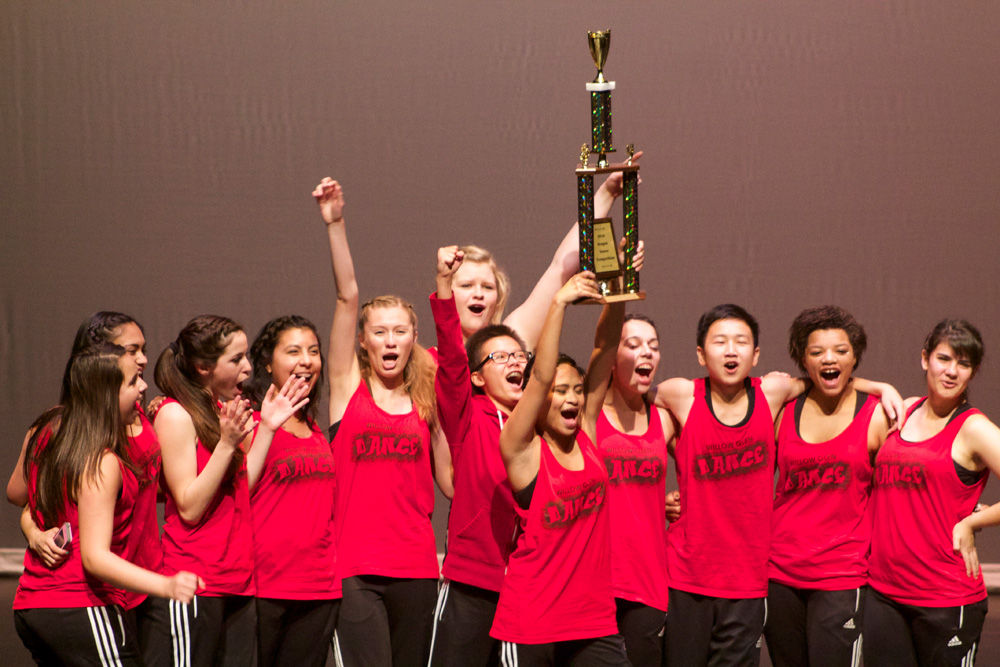 Willow Glen High School's dance team with their first place trophy. (Nicole Wallace)